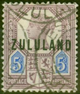 Zululand 1893 5d Dull Purple & Blue SG7 Fine Used