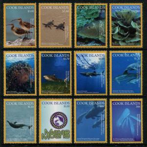 Cook Islands 2016 national geographic marine life whales sharks birds set MNH