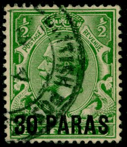 BRITISH LEVANT SG41, 30pa on 1½d green, USED. Cat £17.