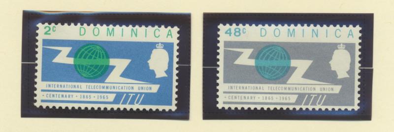 Dominica Scott #185 To 186, Two Stamp ITU Centenary (International Telecommun...