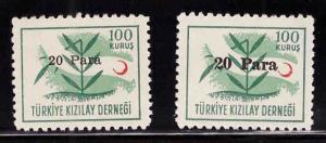TURKEY Scott RA187, RA187c MNH** Overprints sizes