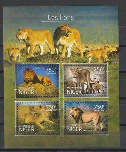 Niger MNH S/S Lions 2014 ROAR!!! ROAR!!!