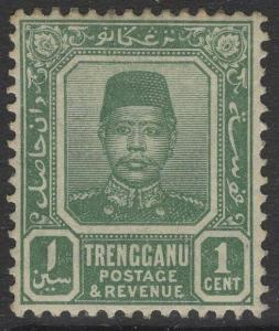 MALAYA TRENGGANU SG1 1910 1c BLUE-GREEN MTD MINT