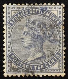 Malaya Singapore 1882 Straits Settlements QV 10c slate Used SG #49 M1817