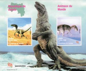 Guinea 1998 YT#Block134 DINOSAURS-Prehistoric Animals S/S Perforated MNH