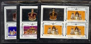 Grenada Grenadines 213-5 Sheets Perf 11 MNH Queen Elizabeth Silver