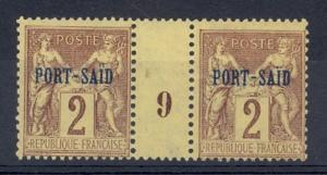 French Offices in Egypt- Port Said Scott 2 NH gutter pair #9 (Maury CV 70 Euros)