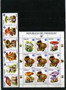 PARAGUAY 1985 Sc#2137-2138 MUSHROOMS STRIP OF 6 STAMPS & SHEET OF 5 STAMPS  MNH