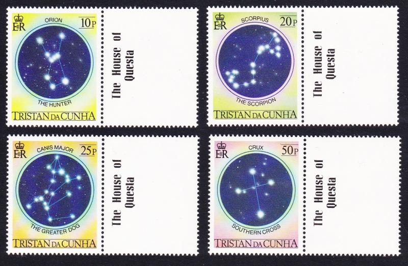 Tristan da Cunha The Night Sky 4v with Gutter labels SG#373/76 SC#356-59