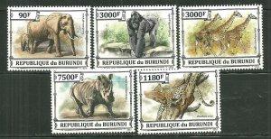 Burundi MNH Set Of 5 African Animals Wildlife 2013