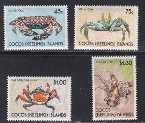 Cocos Islands # 212-215, Crabs, NH, 1/2 Cat.