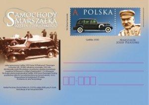 Poland 2018 Postal Stationary Postcard Stamp MNH Old Cars of Marshal Pilsudski
