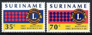 Surinam 596-597, MNH. Lions International in Suriname, 25th anniv. 1982