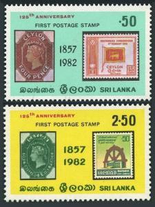 Sri Lanka 651-652,652a,MNH.Michel 600-601,Bl.20. Ceylon Postage Stamps-125,1982.