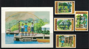 Dominica #630-4* NH  CV $3.55 Girl Guides set & Souvenir sheet