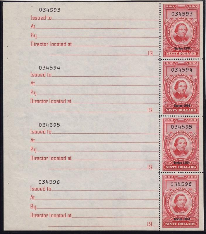 R681a Pane of 4 VF unused with nice color cv $ 225 ! see pic !