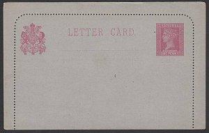 VICTORIA AUSTRALIA QV 1d lettercard fine unused.............................K293