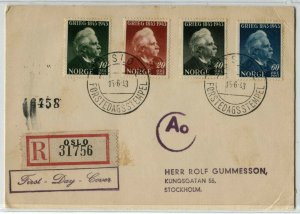 NORWAY #255-258 Edvard Grieg REGISTERED FDC Stamps Postage First Day Cover 1943