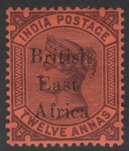BRITISH EAST AFRICA SG58 1895 12a PURPLE/RED MTD MINT
