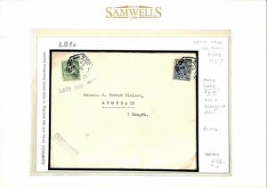 L51e EIRE Ireland Dublin Halfpenny *LATE FEE* Violet Handstamp 1937 Cover