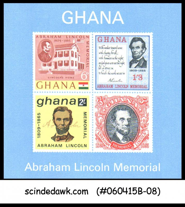 GHANA - 1965 ABRAHAM LINCOLN MEMORIAL - MINIATURE SHEET MINT NH IMPERF!!!!