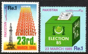 Pakistan 645-646, MNH. Elections. Tower, Ballot Box, 1985