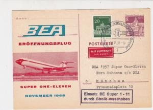 Berlin 1968 BEA !st Flight Int. Airport Slogan Cancel Airmail Stamps CardRf25582