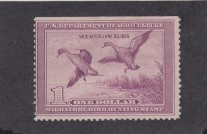 US Sc RW5 MLH. 1938 $1 light violet Duck Hunting Permit Stamp, natural SE, VLH