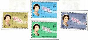 British Solomon Islands Scott 264-267 Royal Family visit Map set