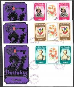 TUVALU 1982 Princess Diana 21th Birthday Set Gutter Pairs Sc 170-172 Cachet FDC