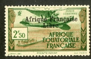 FRENCH EQUATORIAL AFRICA C10 MH SCV $4.00 BIN $1.75 AIRPLANE