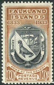 FALKLAND ISLANDS-1933 10/- Black & Chestnut.  A mounted mint example Sg 137