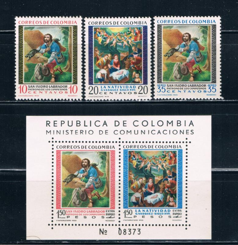 Colombia 722-23;C87-88 MNH set and SS Religious (C0132)