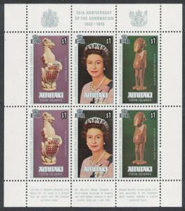 Aitutaki 25th Anniversary of Coronation 3v Sheetlet SG#257-259