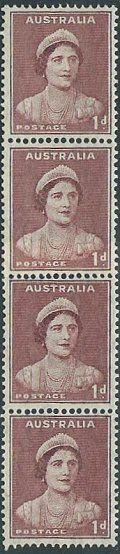 AUSTRALIA 1d coil perf -  coil join strip of 4 SG181a Unhinged mint........40955