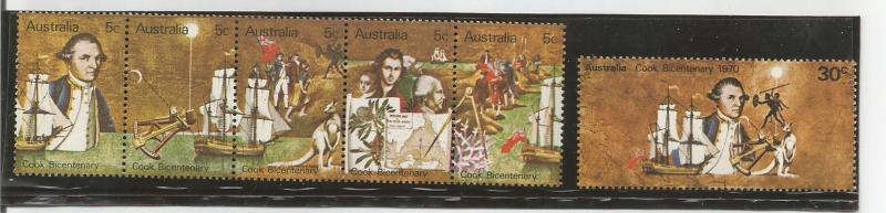 AUSTRALIA, 1970, MNH Captain Cook Bicentenary, Full Set. Scott 477-482a