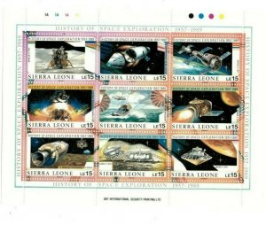 Sierra Leone MNH S/S 1073 History Space Exploration 9 Stamps