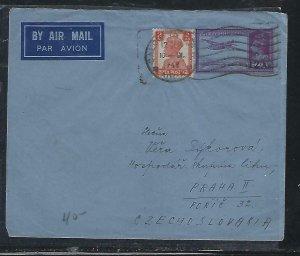 INDIA COVER (P0310BB)  1948 12A/14A PSE +KGVI 2A   A/M COVER TO CZECHOSLOVAKIA