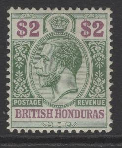 BRITISH HONDURAS SG109 1913 $2 PURPLE & GREEN MTD MINT
