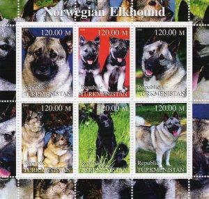 Turkmenistan  2000  DOGS NORWEGIAN ELKHOUND Sheetlet (6) MNH