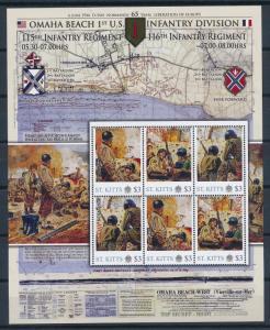 [81208] St. Kitts 2011 Second World war D-day Omaha beach Sheet MNH