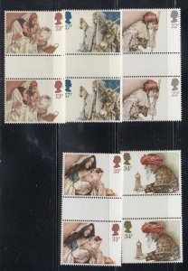 Great Britain Sc 1088-92 1984 Christmas stamp set gutter pairs mint NH