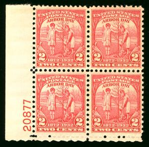 US  #717 PLATE BLOCK, VF mint never hinged, post office fresh,  super nice!