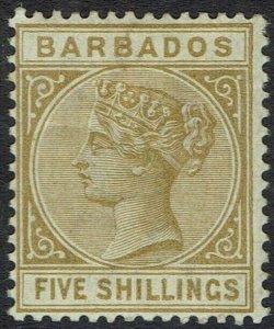 BARBADOS 1882 QV 5/-