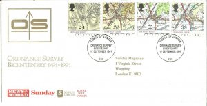 Ordinance Survey Bicentenary 1991 First Day Cover Tower Of London Postmark U3486