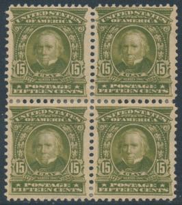 #309 15¢ 1902 BLK/4 MINT OG HR BOTTOM 2 VERY WELL-CENTERED CV $725 BU2502