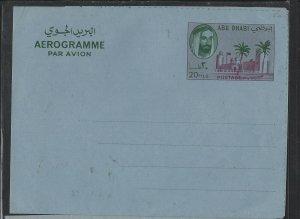 ABU DHABI COVER (PP 0802B)  SHEIKH 20F AEROGRAM UNUSED