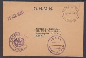 Tonga, 1966 Stampless OHMS Cover to Washington, D.C., VF