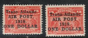 Newfoundland #C2 #C2a Very Fine Mint Lightly Hinged Duo