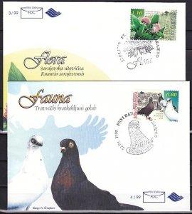 Bosnia, Muslim. Scott cat. 327-328. Pigeons issue. First day cover. ^